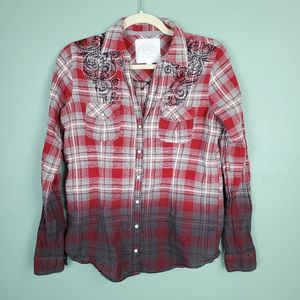 Maurices Premium Ombre Plaid Pearl Snap Shirt Med